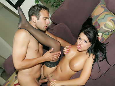 Stocking clad pornstar Eva Angelina gives an erotic blowjob and gets her pussy extremely fucked